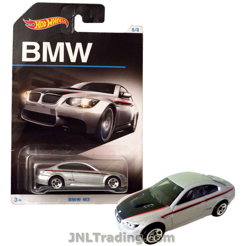 Hot Wheels Year 2015 BMW Series 1:64 Scale Die Cast Car Set 6/8 - Silver Color Luxury Coupe BMW M3 DJM87