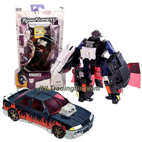 Hasbro Year 2005 Transformers Cybertron Series Deluxe Class 6 Inch Tall Robot Action Figure - Decepticon RUNAMUCK with Pop-Up Tail Gun, Spring-Loaded Ramming Mode and Earth Planet Cyber Key (Vehicle Mode: Muscle Car)