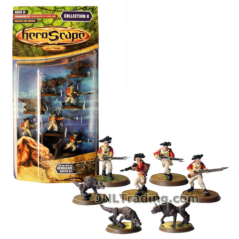 Heroscape Year 2007 Defenders of Kinsland Series Expansion Set - SOLDIERS and WOLVES with 3 Wolves of Badru, 4 Soldiers of 10th Regiment of Foot and 2 Cards