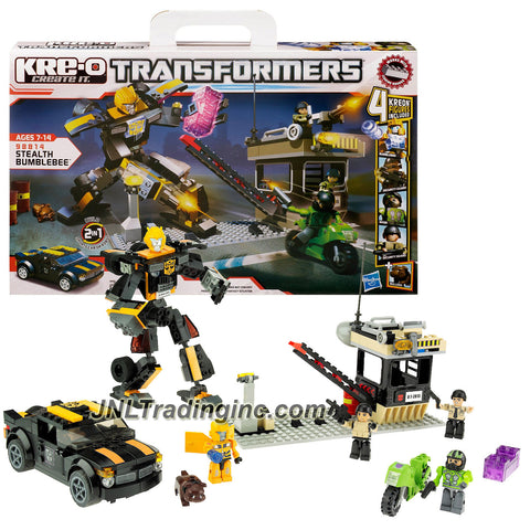 "Hasbro Year 2012 KRE-O Create It Transformers ""2-in-1"" Series 8 Inch Tall Robot Figure Set #98814 - STEALTH BUMBLEBEE (Vehicle Mode: Sports Car) with Bumblebee, 2 Security Guards and Biker Kreons Minifigure (Total Pieces: 257)"