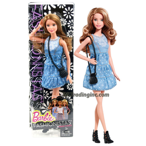 Mattel Year 2014 Barbie Fashionistas Series 12 Inch Doll Set - #8 Denim 'N Dots SUMMER (CLN67) in Blue Dress with Purse