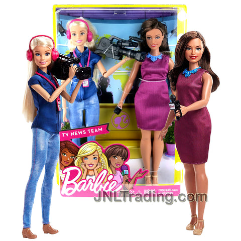 Year 2017 Barbie Career You Can Be Anything Series 2 Pack 12 Inch Doll - TV NEWS TEAM with Hispanic NEWS ANCHOR and Caucasian CAMERA PERSON