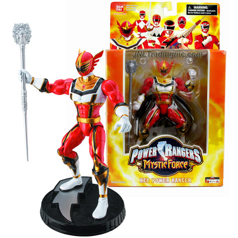 "Bandai Power Rangers Creation Collector Series 7"" Tall Figure - Mystic Force RED POWER RANGER with Mystic Staff and Display Base"