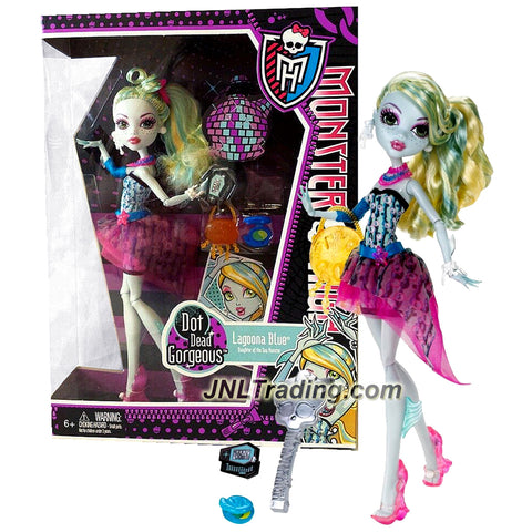 "Mattel Year 2011 Monster High ""Dot Dead Gorgeous"" Series 11 Inch Doll Set - Lagoona Blue ""Daughter of the Sea Monster"" with Purse, Cosmetic Powder Case, Cell Phone, Hairbrush and Doll Stand (X4530)"