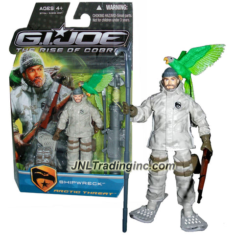 "Hasbro Year 2009 GI JOE Movie Series ""The Rise of Cobra"" 4 Inch Tall Action Figure - Arctic Threat SHIPWRECK with Parrot Pet ""Polly"", Rifle, Pike, Snow Sandals, Backpack, Grappling Hook Launcher and Display Stand"