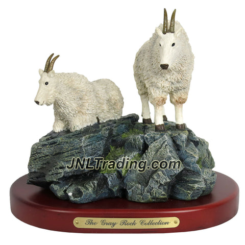 Amy and Addy The Gray Rock Collection Series Wildlife Animal Resin Decorative Statue - MOUNTAIN GOAT COUPLE ON ROCK Sculpture with Base