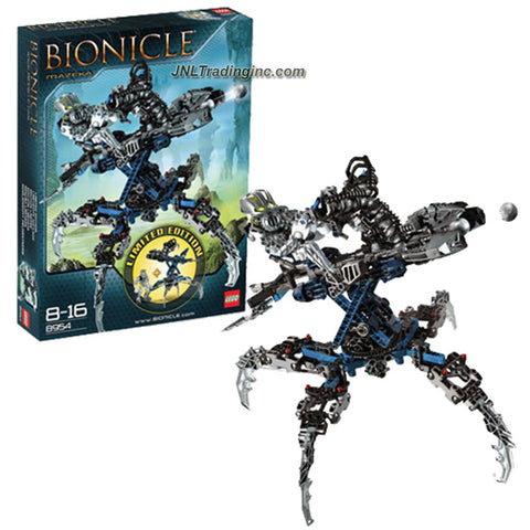 Lego Year 2008 Limited Edition Bionicle Series Figure with Vehicle Set # 8954 - Mazeka with Helryx Swamp Strider Plus Midak Skyblaster that Rotates 360 Degrees and 9 Light Spheres (Total Pieces: 301)