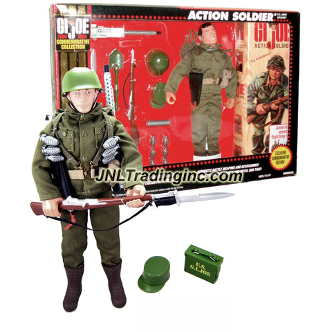Hasbro Year 1994 GI JOE Commemorative Collection (1964-1994) Series 12 Inch Tall Action Figure - U.S. Army Infantry ACTION SOLDIER (Hispanic) with Backpack, Hat, Helmet, Maps Tube, 6 Grenades, Rifle, Pistol with Holster, Shovel, Canteen, Tool Box, Bayonet Knife and Machine Gun with Tripod Mount