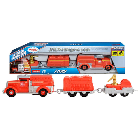 Thomas and Friends Trackmaster Motorized Railway 3 Pack Train Set - FLYNN the Fire Engine (CFF92) with 1 Car and Water Hose Trailer
