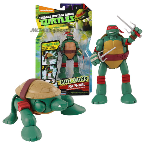 Playmates Year 2014 Nickelodeon Teenage Mutant Ninja Turtles TMNT Mutations Series 6 Inch Tall Action Figure - Pet Turtle to Ninja Turtle RAPHAEL with Pair of Sais