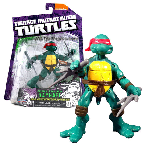 Playmates Year 2014 Teenage Mutant Ninja Turtles TMNT Original Comic Book Series 4-1/2 Inch Tall Action Figure - Ninja Master of The Double-Fisted Sai RAPHAEL with Pair of Sais and Trading Card