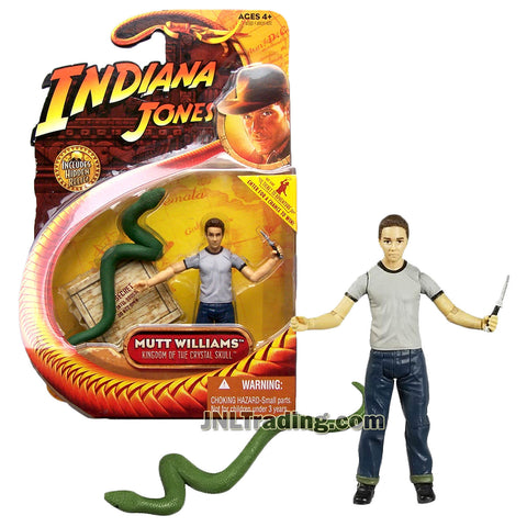 Indiana Jones Year 2008 Kingdom of the Crystal Skull Series 4 Inch Tall Figure - MUTT WILLIAMS in T-Shirt with Dagger Plus Green Snake and Hidden Relic Accessories