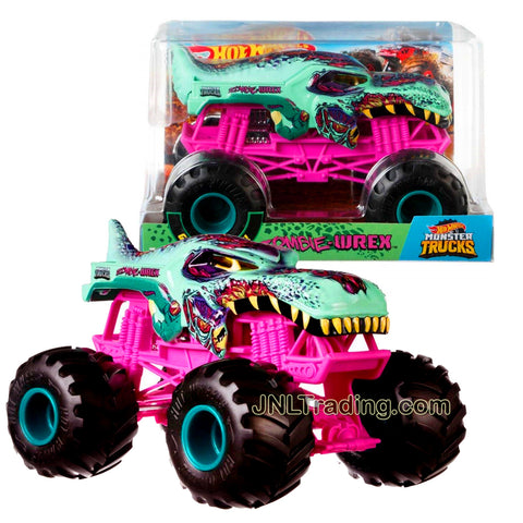 Hot Wheels Year 2018 Monster Jam 1:24 Scale Die Cast Metal Body Official Monster Truck Series : ZOMBIE-WREX FYJ95 with Monster Tires, Working Suspension and 4 Wheel Steering