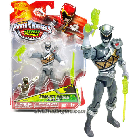 Bandai Year 2015 Saban's Power Rangers Dino Charge Series 5 Inch Tall Action Figure - GRAPHITE RANGER with Blaster and Saber