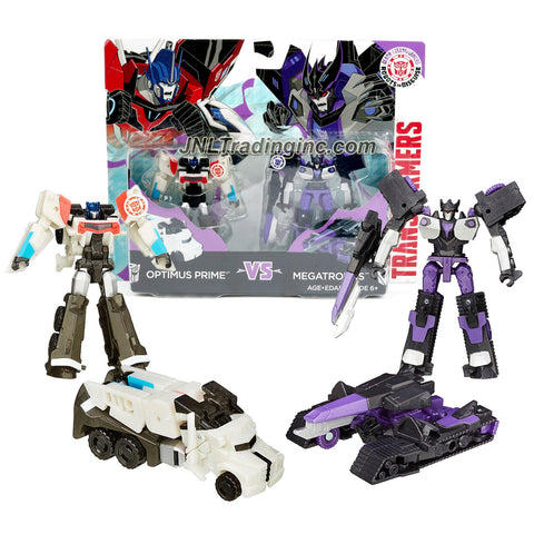 Hasbro Year 2015 Clash of the Transformers Series Exclusive 2 Pack Legion Class 3 Inch Tall Robot Action Figure - OPTIMUS PRIME (Vehicle Mode: Rig Truck) vs MEGATRONUS (Vehicle Mode: Battle Tank)