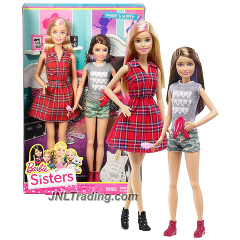 Mattel Year 2015 Barbie Sisters Series 2 Pack 12 Inch Doll Set DGX42 - BARBIE in Plaid Red Dress with SKIPPER in Grey Epic Weekend Tops and Green Camo Shorts