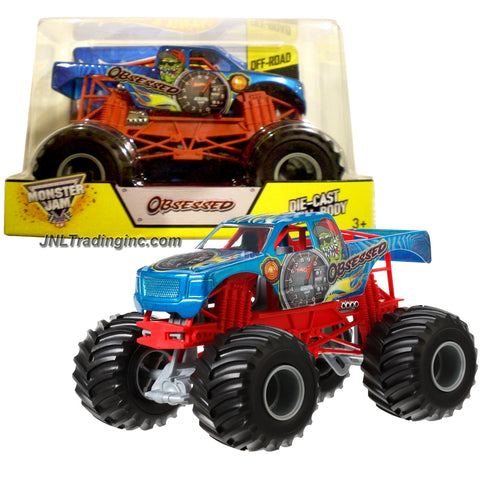 "Hot Wheels Year 2014 Monster Jam 1:24 Scale Die Cast Metal Body Official Monster Truck Series #BGH45 - OBSESSED with Monster Tires, Working Suspension and 4 Wheel Steering (Dimension : 7"" L x 5-1/2"" W x 4-1/2"" H)"