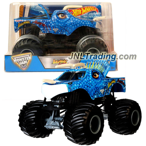 Hot Wheels Year 2016 Monster Jam 1:24 Scale Die Cast Metal Body Official Truck - JURASSIC ATTACK (CJD24) with Monster Tires, Working Suspension and 4 Wheel Steering