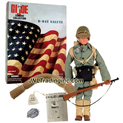 Hasbro Year 1997 G.I. JOE Classic Collection 12 Inch Tall Soldier Figure : D-DAY SALUTE 1st Infantry Division (Caucasian) with Helmet, Canteen, M-1 Rifle, Bayonet, Tent, Gas Mask, Bed Roll and Dog Tag