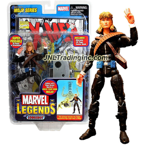"ToyBiz Year 2006 Marvel Legends ""Mojo"" Series 6 Inch Tall Super Poseable Action Figure - LONGSHOT with 35 Points of Articulation Plus Lower Mechanical Legs (Right Side) of Mojo, Diorama and 32 Page Comic Book"