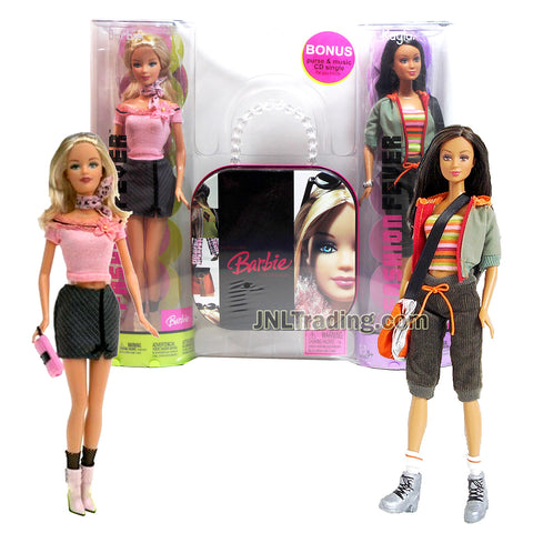 Year 2006 Barbie Fashion Fever Series Bonus Pack 12 Inch Doll Set - BARBIE H0660 in Pink Sweater and KAYLA H0663 in Green Jacket Plus Display Stands and Purse with Music Single CD