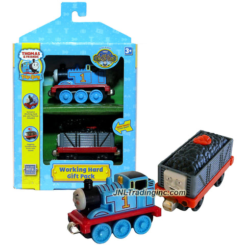 Learning Curve Year 2008 Thomas and Friends Take Along Series Die Cast Metal Train Set - WORKING HARD GIFT PACK with Exclusive Working Hard Thomas and Giggling Troublesome Truck