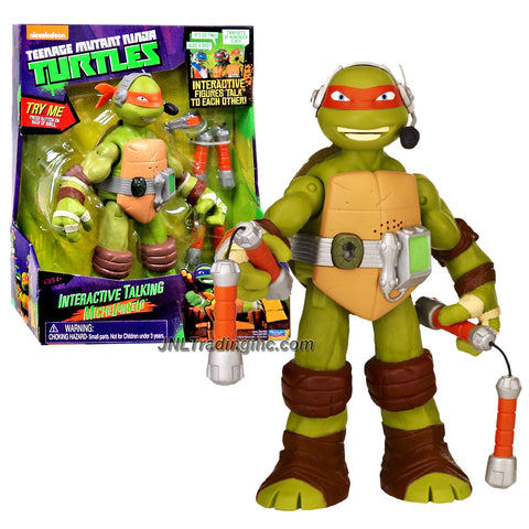 Playmates Year 2014 Nickelodeon Teenage Mutant Ninja Turtles 10 Inch Tall Electronic Action Figure - Interactive Talking MICHELANGELO with a Pair of Nunchakus