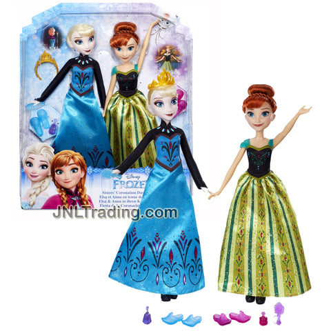 Hasbro Year 2015 Disney Frozen Series 2 Pack 12 Inch Doll Set - SISTERS' CORONATION DAY CELEBRATION with Elsa and Anna Plus Tiara and Many Accessories