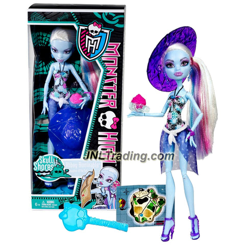 "Mattel Year 2011 Monster High Skull Shores Series 10 Inch Doll - Abbey Bominable ""Daughter of the Yeti"" with Coconut-Shaped Cup, Purple Hat, Earrings, Map Card, Hairbrush and Doll Stand (W9184)"