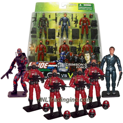 Hasbro Year 2004 GI JOE A Real American Hero Valor vs Venom Series 6 Pack 4 Inch Tall Action Figure - CRIMSON GUARD FORCE with FIREFLY, XAMOT and 4 CRIMSON GUARDS Plus 5 Backpacks, 5 Assault Rifles, Gun, Sub-Machine Gun, Radio, 4 Removable Helmets and 6 Display Stands