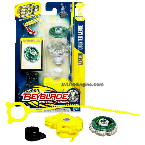 Hasbro Year 2010 Beyblade Metal Fusion High Performance Battle Tops - Defense 145D BB04 LEGEND COUNTER LEONE with Face Bolt, Leone Energy Ring, Counter Fusion Wheel, High Profile 145 Spin Track, Defense D Performance Tip and Ripcord Launcher Plus Online Code