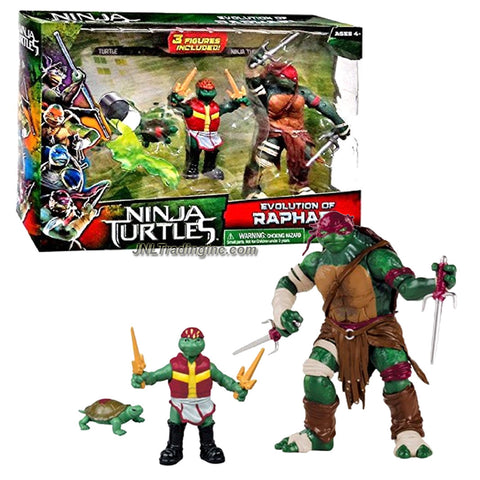 Playmates Year 2014 Teenage Mutant Ninja Turtles TMNT Movie Series 3 Pack Action Figure Set - EVOLUTION OF RAPHAEL (Turtle - Teen - Ninja Turtle) Plus 2 Pairs of Sais