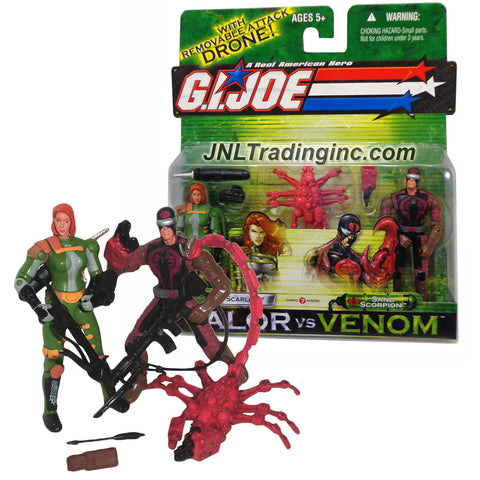 "Hasbro GI JOE A Real American Hero Valor vs Venom 2 Pack 4"" Tall Action Figures - SCARLETT vs SAND SCORPION with Crossbow, Scorpion, Rifle & Sword"