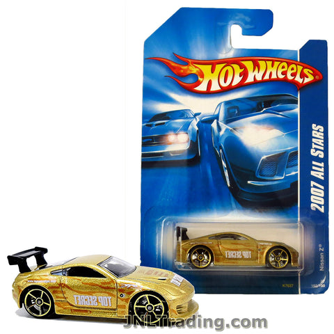 Hot Wheels Year 2007 All Stars Series 1:64 Scale Die Cast Car Set #152 - Top Secret Gold Color Roadster Sports Coupe NISSAN Z K7627