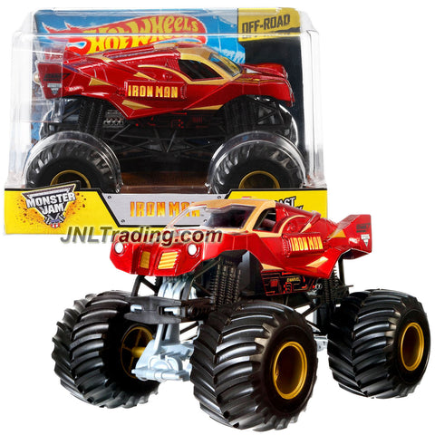 Hot Wheels Year 2014 Monster Jam 1:24 Scale Die Cast Metal Body Truck - IRON MAN CHV11 with Monster Tires, Working Suspension and 4 Wheel Steering