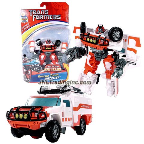 Hasbro Year 2007 Transformers Movie Fast Action Battlers Series 6 Inch Tall Robot Action Figure - Autobot RESCUE TORCH RATCHET with Blasting Torch Attack (Vehicle Mode: Hummer H2)