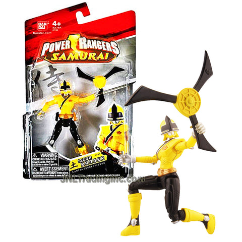 Bandai Year 2011 Power Rangers Samurai Series 4 Inch Tall Action Figure - Yellow Earth Mega Ranger with Sword and Yellow Shuriken aka Earth Slicer