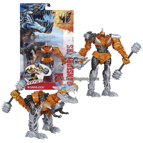 "Hasbro Year 2014 Transformers Movie Series 4 ""Age of Extinction"" Power Attacker 5-1/2 Inch Tall Robot Action Figure - Autobot GRIMLOCK with Spinning Mace (Beast Mode: T-Rex)"