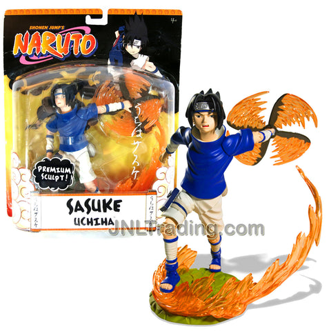 Year 2006 Shonen Jump's Naruto Series Premium Sculpt 7-1/2 Inch Tall Action Figure - SASUKE UCHIHA with 3 Authentic Shinobi Poses, Fire Shuriken and Flame Display Stand