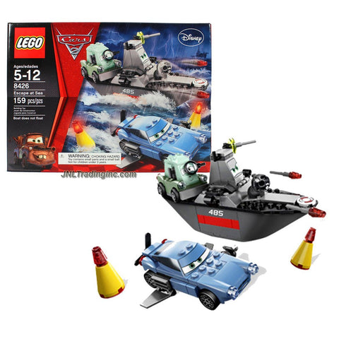 "Lego Year 2011 Disney Pixar ""Cars 2"" Movie Scene Set #8426 - ESCAPE AT SEA with Professor Zundapp, Finn McMissile and Battleboat (Total Pieces: 159)"