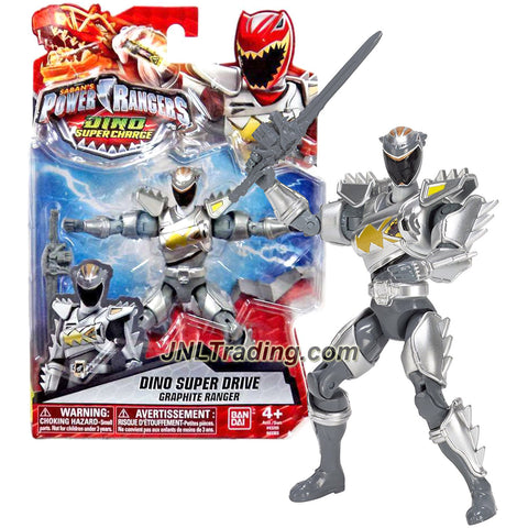 Bandai Year 2015 Saban's Power Rangers Dino Super Charge Series 5 Inch Tall Action Figure - Dino Super Drive GRAPHITE RANGER with Sword