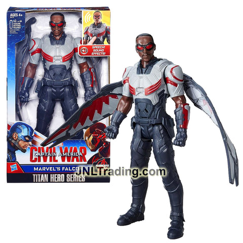 Year 2015 Marvel Captain America Civil War Titan Hero Series 12 Inch Tall Electronic Figure - MARVEL'S FALCON with Detachable Wings and Sounds FX