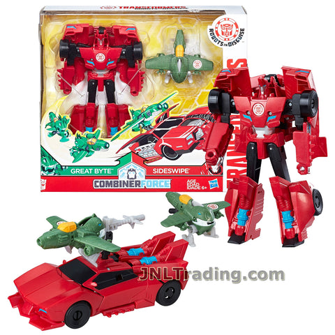 Transformers Year 2016 Robots in Disguise Combiner Force Series 5-1/2 Inch Tall Figure Activator Set - SIDESWIPE (6 Step Changer) with GREAT BYTE (1 Step Changer)