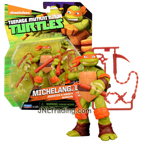 Playmates Year 2015 Teenage Mutant Ninja Turtles TMNT 5 Inch Tall Figure - Jokester & Hard Hitting Nunchuck Hero MICHELANGELO with Nunchucks, Kusarigama and Shurikens