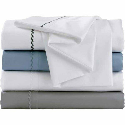 NEW Full 100% Egyptian White Cotton Sheet Set Thread 500 Count Embroidered Hem