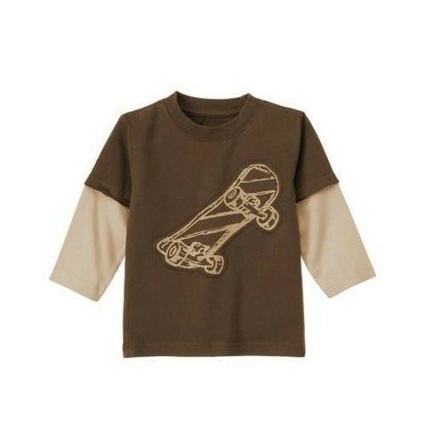 NWT Gymboree Boy Long Double Sleeve Brown Cream Cool Skateboard Appliqué Tee 2T