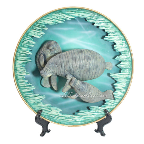 "Amy and Addy The Gray Rock Collection Series Marine Life Animal Resin 11"" Diameter Decorative Art Piece - MANATEE FAMILY Sculpture with Plate Base"