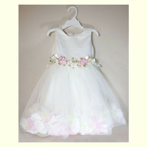 NEW White Pink Flower Petal Beautiful Summer Girl Tulle Ball Gown Dress 3T/ 8T