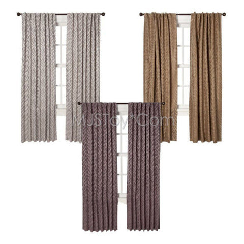 NEW HOME One Window Treatment Panel Zebra Curtain 54x84 inch Grey/Brown/Purple