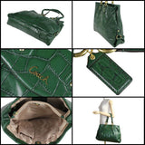 NWT Coach ASHLEY EMBOSSED Green CROC Leather CARRYALL Handbag Purse Bag Tote